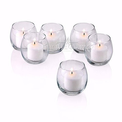 Light In The Dark Clear Glass Hurricane Votive Candle Holders with White Votive Candles (Set of 72)