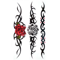 King Horse Waterproof and sweat tattoo sticker sexy red rose Black rose for women