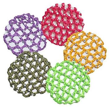Handmade Crochet Bun Cover, Ponytail Holder with 30 Crystal Rhinestones