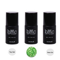 BMC 3pc Green Color Gel Nail Glitter Lacquer w/ Top Base Coat - Woodland Fantasy