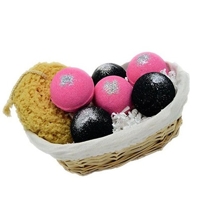 Intimate Bath and Body 6 Piece Bath Bomb Gift Set with Pink Sugar and Little Black Dress