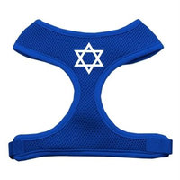 Mirage Pet Products 7026 LGBL Star of David Screen Print Soft Mesh Harness Blue Large