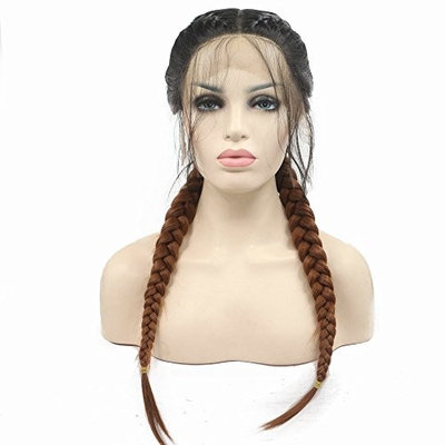 Double Braids Long Hair Wigs Black Ombre Brown High Temperature Fiber Hair Synthetic Lace Front Wigs With Baby Hair For Women Hand-Tied Braided For Drag Queen Swiss Lace 2T Color 24