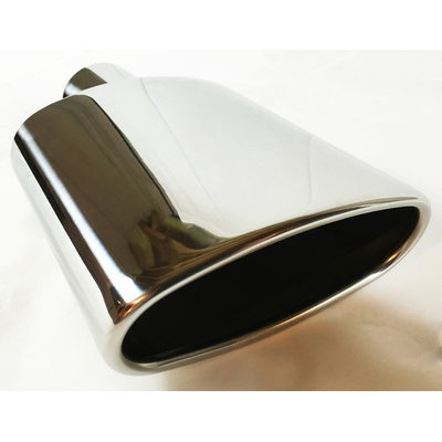Exhaust Tip 6.0 X 2.25' Outlet 9.0' Long 2.50' Inlet Rolled Oval Angle Polished Stainless Steel WOA6002509-250-SS Wesdon Exhaust Tip