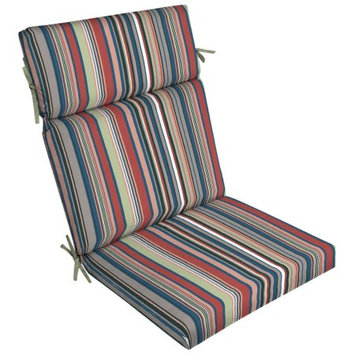 Arden Companies Better Homes and Gardens Outdoor Patio Dining Chair Cushion, Island Skinny Multi Stripe