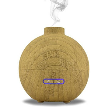 Simply Diffusers Wood Effect Ultrasonic Cool Mist Aromatherapy Diffuser and Room Humidifier Bamboo Look | 200mL Capacity