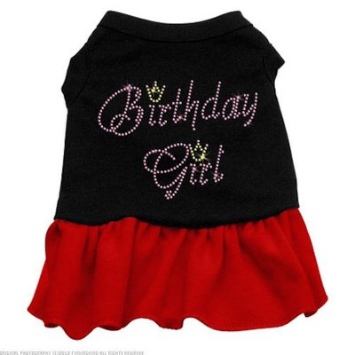Mirage Pet Products Birthday Girl Rhinestone 16-Inch Pet Dresses, X-Large, Black with Red