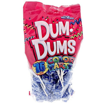 Blue Dum Dums Color Party - Blueberry Flavored - 75 Count Bag - 12.8 ounces - Includes Free How To Build a Candy Buffet Guide [Blue - Blueberry]