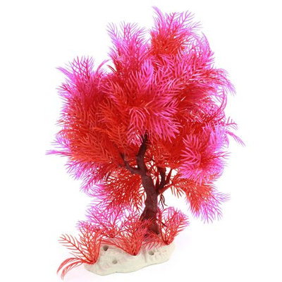 Aquarium Emulational Water Plant Tree Ornament Red Fuchsia 9.8