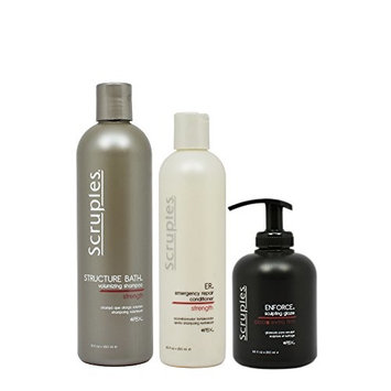 Scruples Structure Bath Volumizing Shampoo 12oz & ER Emergency Repair Conditioner 8.5oz & Enforce Sculpting Glaze 8.5oz