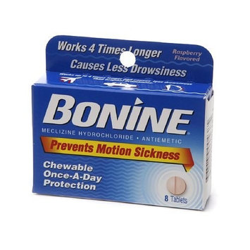 3 Pack - Bonine Motion Sickness Prevention Raspberry Chewable Tablets 8 Each