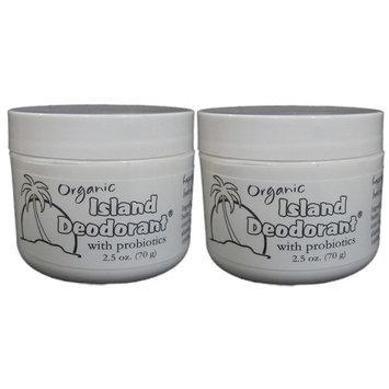Organic Island Deodorant, 2 Pack, Probiotic Deodorant Cream, Natural, Aluminum-free, Unscented, Mix in Your Own Essential Oils (2 Jars)