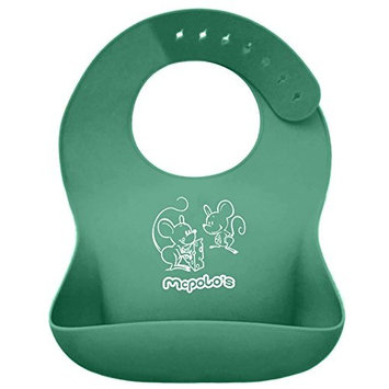 McPolo's Cutest Pink Elephant iBib 100% Portable Silicone Baby Bib - Waterproof Food Crumb Catcher Pocket Ultra Soft Easily Wipes Clean Stains Off - Best for 2 MO to 6 YO Babies Toddlers PreSchoolers