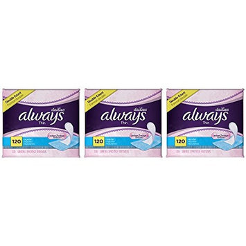 Always Thin MqurB Dailies Unscented Wrapped Liners, Regular, 120 Count (3 Pack)