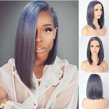 QD-Udreamy Sexy Grey Short Bob Heat Resistant Glueless Synthetic Lace Front Wigs Soft Replacement Wigs for Women Make Up 14 Inches