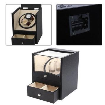 Electric Wrist Watch Box Black PU Automatic Winding Motor Luxury Holder Storage