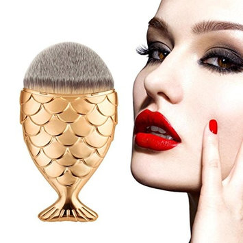 Makeup Brush, Lookatool Fish Scale Makeup Brush Fishtail Bottom Brush Powder Blush Makeup Cosmetic Brush (Rose G