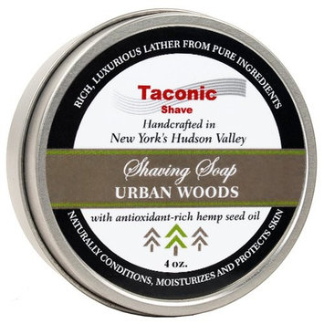 Taconic Shave Barbershop Quality URBAN WOODS Shaving Soap with Antioxidant-Rich Hemp Seed Oil - With hints of Cedar, Bergamot and Tobacco