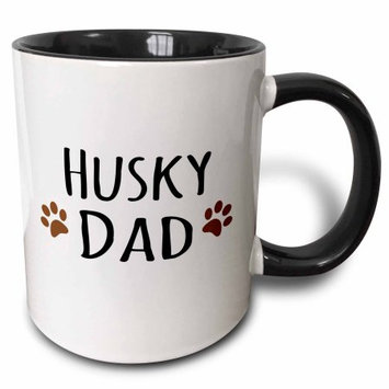 3dRose Siberian Husky Dog Dad - Doggie by breed - brown muddy paw prints - doggy lover pet owner love, Two Tone Black Mug, 11oz