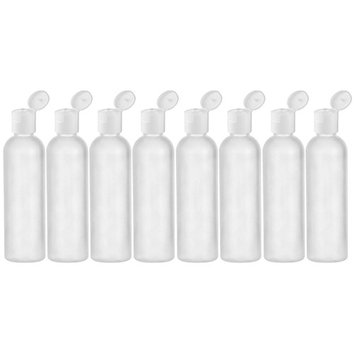 MoYo Natural Labs 4 oz Travel Bottle, Empty Travel Containers with Flip Caps, BPA Free HDPE Plastic Squeezable Toiletry/Cosmetic Bottles(Neck 24-410) (8 pack, Translucent White)