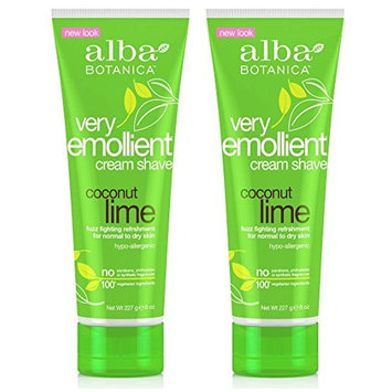 Alba Botanica Naturals Very Emollient Coconut Lime Cream Shave (Pack of 2) With Lime, Coconut Oil, Soybean, Sweet Almond, Jojoba Seed, Aloe Leaf, Calendula, Lemon and Matricaria Flower, 8 oz. each