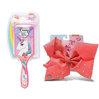 JoJo Girls Siwa Signature Collection Unicorn Paddle Hair Brush & Coral w/Rhinestone Large Hair Bow
