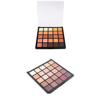 MagiDeal 2pcs 25 Colors Natural Matte Shimmer Earth Warm Tone Eyeshadow Palette Makeup Powder Long Lasting