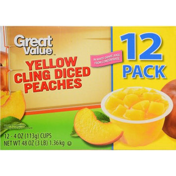 Wal-mart Stores, Inc. Great Value Yellow Cling Diced Peaches, 48 oz, 12 Count