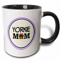 3dRose Yorkie Dog Mom - Yorkshire Terrier - Doggie mama by breed - doggy lover paw print - pet owner circle, Two Tone Black Mug, 11oz