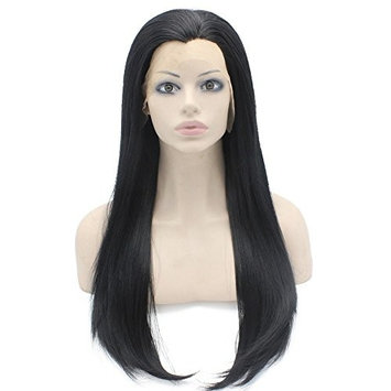 24inch Long Straight Black Lace Front Wig Natural Half Hand Tied Synthetic Fiber Hair Wig at Mxangel