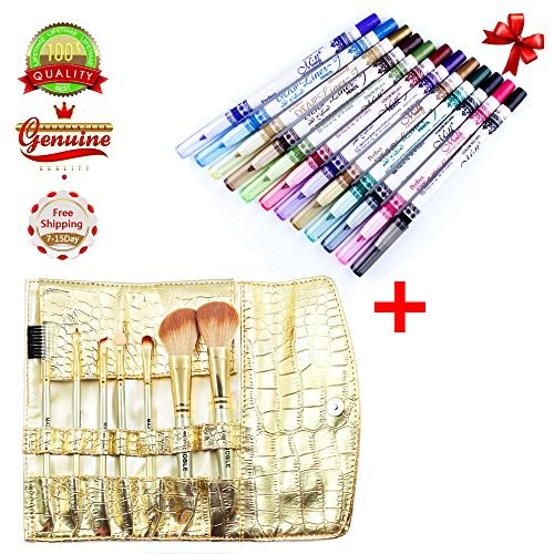 EYX Formula 12 Colors Eyeliner Set+ Gold Makeup Brush Set of 7 Peice with Roll On Bag Great For Travel