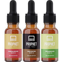 DELUXE EDITION 3x20ml Beard Oils Set: Sandalwood, Cedarwood and Unscented - USA's TOP FAVORITE! Conditioner, Softener, Shine and Thicker Beard Growth - NUTS-FREE, VEGAN & HALAL! Prophet and Tools