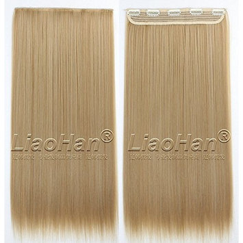 Straight Long Clip in Brown mixed Blonde Hair Extensions 3/4 Full Head Synthetic Hair Clip in on Highlight Hairpieces