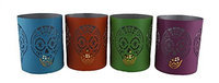Zeckos 4 Pc. Day of the Dead Sugar Skull Punched Metal Candle Holder Set