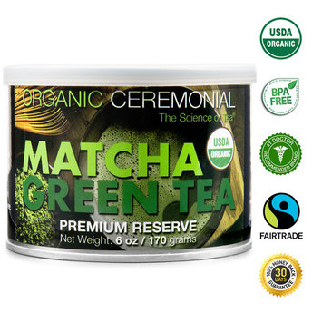 Organic Ceremonial Matcha Green Tea Powder 6 oz Tin