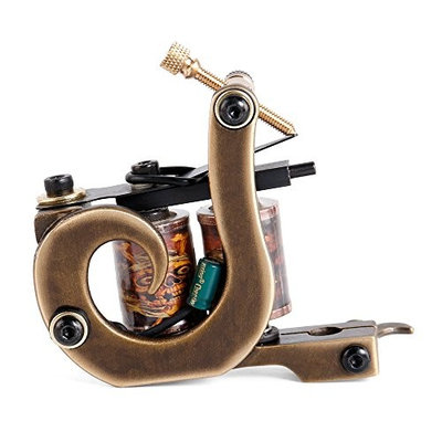 Solong Tattoo Custom Brass Tattoo Machine Gun Handmade 12 Wrap Pure Copper Coils for Shader M207-2