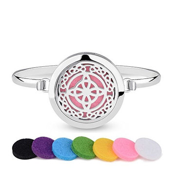 INFUSEU Essential Oil Diffuser Bracelet Aromatherapy Celtic Knot Cross Stainless Steel Locket bangle Jewelry with 12PCS Refill Felt Pads Novelty Gift set