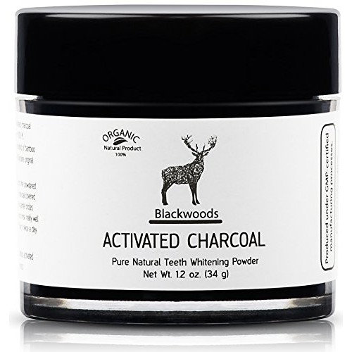 Blackwoods Charcoal Teeth Whitening | Black Carbon Activated Charcoal Powder by Blackwoods Active Charcoal Teeth Whitener from Organic Bamboo +...