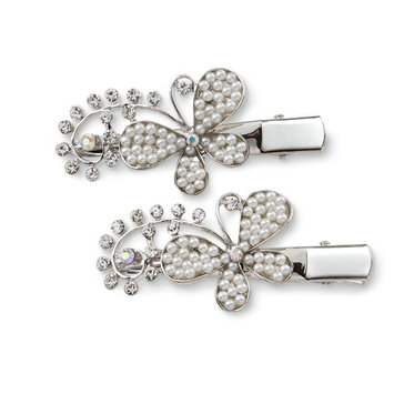 Attention Women's 2-Pack Silvertone Butterfly Hair Clips