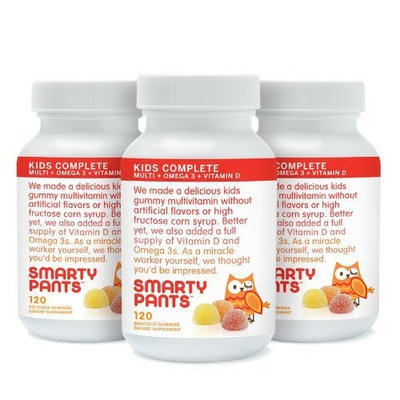 SmartyPants Children's Gummy Multivitamin with Omega-3 and Vitamin-D, 120-Count (Pack of 3)