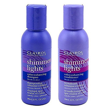 Clairol Shimmer Lights Shampoo Conditioner 2 Ounce (59ml) Set