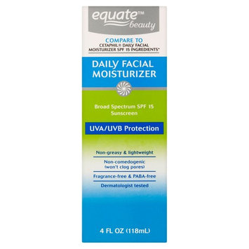 Equate Beauty Daily Facial Moisturizer Sunscreen Broad Spectrum, SPF 15, 4 Fl Oz