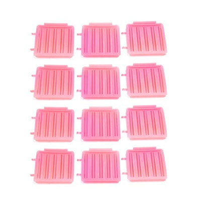 uxcell 12 Pcs Pink Plastic Hairdressing Home DIY Styling Wavy Curly Curler Clip Tool Set