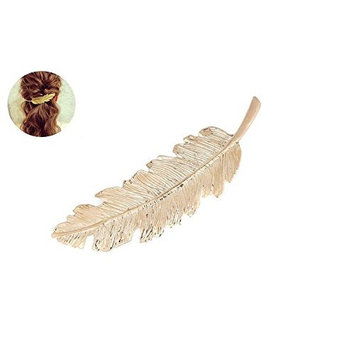 Gold/Silver Luxury Feathers Leaf Shaped Hair Clip Pin Claw Headwears Hair Accessories for Women Girl Lady (G