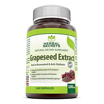 Herbal Secrets Grapeseed Extract - 100 mg Grape Seed Capsules Rich in Resveratrol - Easier to Take Than Grape Seeds Oil – Supports Immune Health & Healthy Ageing- 120 Pills