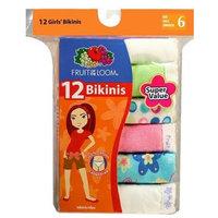 Fruit of the Loom Little Girls' Wardrobe Cotton Bikini, Multi,6 (Pack of 12)