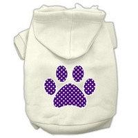 Mirage Pet Products Purple Swiss Dot Paw Screen Print Pet Hoodies Cream Size M (12)