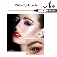 2Pcs Tattoo Eyebrow Pen with Four Tips Long-lasting Waterproof Brow Gel and Tint Dye Cream for Eyes Makeup (1#Chestnut+3#Dark Gray)