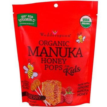 Wedderspoon, Organic Manuka Honey Pops For Kids, Raspberry, 24 Count, 4.15 oz [Flavor : Raspberry]