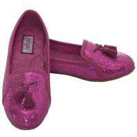 L'Amour Fuchsia Sparkle Tassel Loafer Shoes Girls 11-4